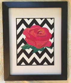 Chevron Rose Print by NightBirdsDesign on Etsy