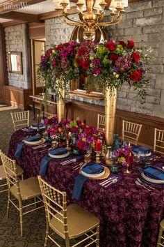 Regal Wedding Table Setting, Fall Wedding Table Setting, Red and Purple Centrepieces   ElegantWedding.ca