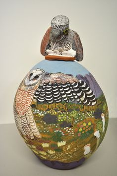 Ungwanaka, Rahel  Night Owl, (year unknown)  hand-built terracotta with painted underglazes and sculpted lid, 40cm - Manly Art Gallery and Museum 2010.