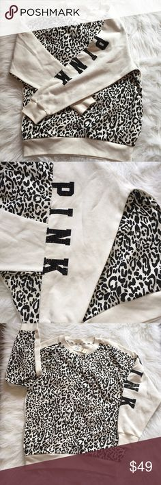 NWT SIZE XS WHITE CHEETAH VS PINK CREW NWT SIZE XS LONG SLEEVE SNOW WHITE CHEETAH CREW. PINK IN BLACK BLING ON THE SLEEVE. HAS pockets ON THE SIDE.XS SMALL BUT OVERSIZED. NO TRADES!!! PINK Victoria's Secret Sweaters Crew & Scoop Necks