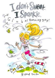 Global Running Day By Blond-Amsterdam Blond Amsterdam, People Illustration, Digital Illustration, Amsterdam Quotes, Best Sports Quotes, Sparkle Quotes, Running Day, Vintage Valentines, Homemade Valentines
