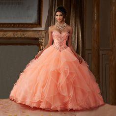 Vestidos De 15 Anos Masquerade Ball Gown Sweet 16 Dress for Girls Birthday Peach Quinceanera Dresses 2016 Puffy Organza Ruffles