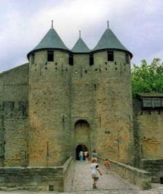 Carcasonne towers! I have a picture of me standing on the bridge!