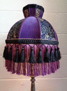 Victorian Edwardian Downton Style Purple Velvet Fringe Lampshade OOAK Handmade  #Handmade #VictorianStyle