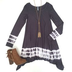 Oh my, oh my, we love our tie dye! ❤️ Grey Dip Dye Dress $48 Paired with our Gold Snake Necklace $18 & our Kara Bootie $48 ShopAliya.com  #tie dye #shopaliya #shopmycloset #nowtrending FREE SHIPPING OVER $50