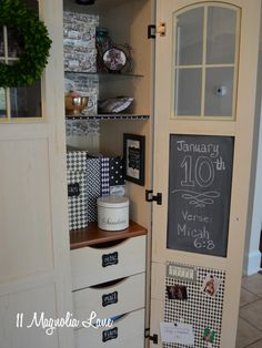 Even if you don't have a dedicated room for a home office, you can turn an armoire into an organized and functional computer station.  Coordinating boxes, notebooks, and decor items from HomeGoods corral bills, files, and office supplies, and tie the look together.  Paint the inside of the door with chalkboard paint for lists.  {Sponsored by HomeGoods}