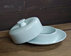 French Limoges round white ceramic butter dish by nancyplage, £8.00