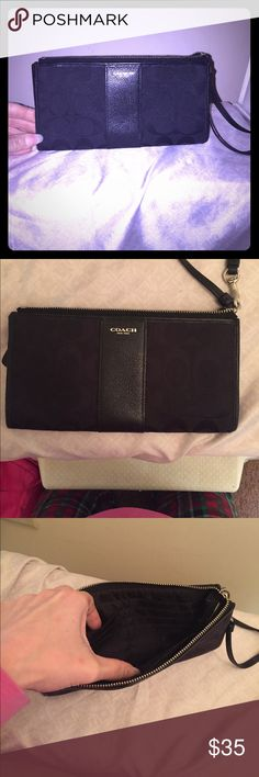 Coach wristlet and wallet Black coach wristlet and wallet. Lots of slots inside and back side of wallet has another zipper for storage. Great condition. Coach Bags Clutches & Wristlets