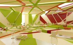 Ceiling cut outs (light movement) - 3d wall graphic moves across planes