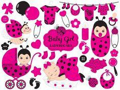 70% OFF SALE Baby Ladybug Clipart - Vector Baby Ladybug Clipart, Baby Shower Ladybug Clipart, Ladybird Girl Clipart, Baby Ladybug Clip Art