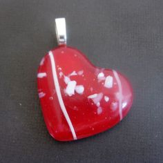 Fused Glass Heart Pendant Slide Jewelry  One of a by mysassyglass, $18.00