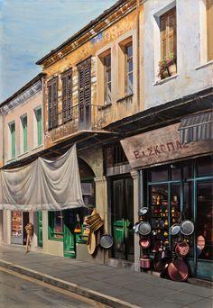 Greek Art, Greece, Street View, Gallery, Places, Paintings, Pintura, Paint, Painting Art