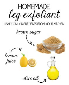 Homemade leg exfoliant using only three ingredients from your kitchen! Plus other tips on how to get silky smooth legs.
