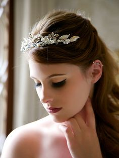 Silver Bridal Crown Boho Silver Headpiece Pearl by GildedShadows