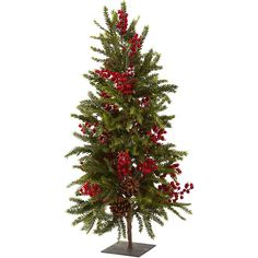 "Nearly Natural 36"" Pine & Berry Christmas Tree (€120) ❤ liked on Polyvore featuring home, home decor, holiday decorations, christmas, christmas trees, winter, xmas, backgrounds, filler and christmas holiday decor"