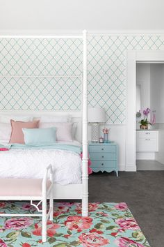 Girl's bedroom in Hamptons style home with turquoise and pink tones. Hamptons Style Homes, The Hamptons, Custom Cushions, Dash And Albert, French Oak, Kids Storage, Waterfront Homes, Girls Bedroom