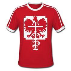 Polska Eagle Crucifix Classic Retro Shirt Men [*Weiß Glitzer*] - Männer Retro-T-Shirt  #polska #polskashop #polskatshirt #polnischebekleidung #poloniastore   #mypolonia #polonia