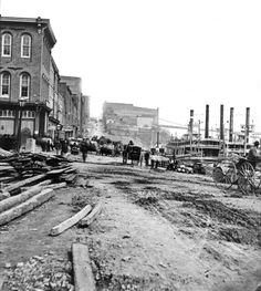 1872 Banks of Cumberland River looking North on 1st Avenue. Nashville, TN