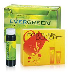 Evergreen® & Fortune Delight®  Evergreen® and Fortune Delight® are two of my favorite Sunrider® beverages. The main ingredient in Evergreen® is copper chlorophyllin, a type of chlorophyll, which helps the circulatory system, helps clean the intestines, and aids digestion.