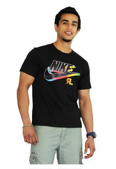 Details about Nike Air Men's Athletic Short Sleeve Color Blocked Logo Gym Graphic T Shirt
