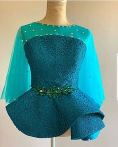 Blouse Style Inspiration by African Fashion Ankara, Latest African Fashion Dresses, African Dresses For Women, African Print Fashion, African Attire, Lace Dress Styles, Blouse Styles, Blouse Designs, African Lace Styles