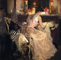 The Athenaeum - Sewing by Lamplight (Richard Edward Miller - )