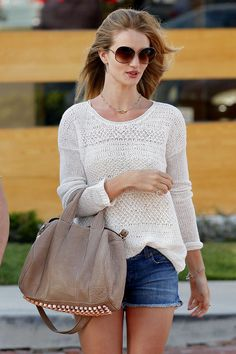 ROSIE HUNTINGTON-WHITELEY IN MALIBU IN OUR SS11 DESTROYED WHITE LINEN SWEATER.