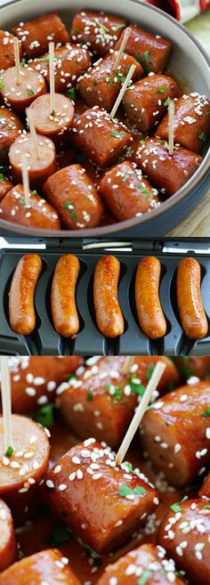 Honey Sriracha Sausage Bites – sticky, sweet and spicy sausage bites with honey sriracha sauce. An easy delicious appetizer that is a crowd pleaser   rasamalaysia.com #ad