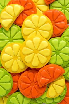 Have you ever used cookie stamps? Sweet Sugarbelle's cookie stamps will help you make beautiful cookies like these lemon & lime cookies and it's so easy! Fruit Cookies, Mother's Day Cookies, Bear Cookies, Summer Cookies, Lemon Cookies, Flower Cookies, Iced Cookies, Basic Cookies, Fancy Cookies
