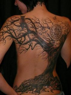 I love this tree tattoo. I don't need the compass and would prefer a raven to the owl.