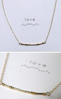 Morse code beaded necklaces.