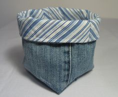 Love the fabric basket in denim. Click thru for tutorial using pant legs from Threading My Way.