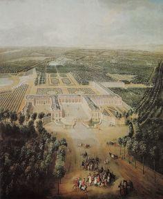 1724 - Jean-Baptiste Martin - Louis XV enfant en promenade en vue du Grand Trianon.Le Grand Trianon ou Trianon de marbre est un château que Louis XIV fait construire en 1687 par Jules Hardouin-Mansart à proximité de Versailles en France, au sein du parc du château de Versailles
