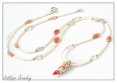 long beaded necklace, pearl peach moonstone, bohemian chic, white and tangerine orange, one of a kind by KalliopeJewelry on Etsy