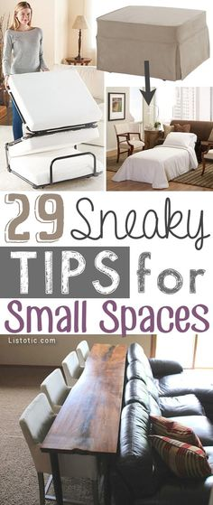 A ton of clever hacks and storage ideas for small spaces, homes and apartments! Small bedroom, bathroom, living room and kitchen ideas on a budget (DIY and cheap). Small space living isn't so bad! Even with kids. Listotic.com