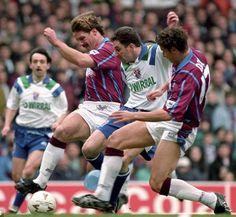 Aston Villa 3 Tranmere Rov 1 p) in Feb 1994 at Villa Park. John Aldridge tries to take on 2 Villa players in the League Cup Semi Final, Leg. John Aldridge, Tranmere Rovers, Great Comebacks, Villa Park, Super White, Aston Villa, Semi Final, Legs