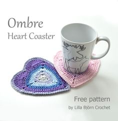 Will you be my Valentine? Ombre Heart Coaster – Free Pattern | LillaBjörn's Crochet World