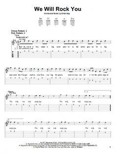 We Will Rock You easy guitar tab, as performed by Queen. Official, artist-approved easy guitar tab arrangements for beginner guitarists. Guitar Tabs Acoustic, Easy Guitar Tabs, Easy Guitar Songs, Guitar Chords For Songs, Acoustic Guitar Lessons, Guitar Sheet Music, Guitar Notes, Electric Guitar Chords, Bass Guitar Scales