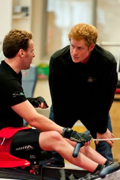 Prince Harry (R) meets Veteran Jonathon (Frenchie) Le Galloudec (L) at the launch of the Invictus Games selection process at Tedworth House on 29.04.2014 in Tidworth, Wiltshire, England.