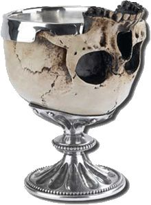 Replica of Lord Byron's Skull Cup, one which he'd had fashioned from a skull found by his gardener, which he used as a drinking cup among his close friends.