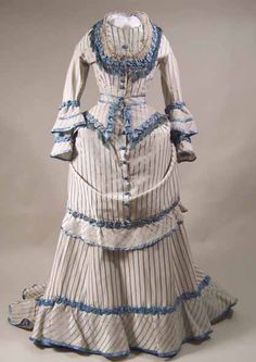 Dress 1873, Made of silk, satin, and linen