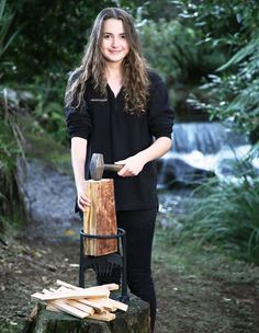 A Mighty Girl When Ayla Hutchinson was 13 years old, she saw her mother cut her finger with a hatchet while splitting kindling and became determined to find a safer way to cut firewood. This Mighty Girl from Taranaki, New Zealand took on that challenge as a science fair project -- the result was the Kindling Cracker, a cast iron tool that allows people to split kindling quickly and safely. Now, the 15-year-old entrepreneur is not only doing brisk business in her home country, she's bringing her