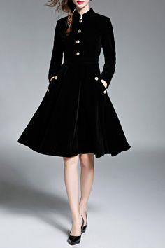 Aermei Black Velvet A Line Dress With Pockets | Knee Length Dresses at DEZZAL