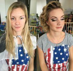 Before and after Makeup Hairstyle, Makeup, T Shirt, Fashion, Hair Job, Make Up, Supreme T Shirt, Moda, Hair Style