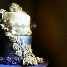 Silver and ivory wedding cake
