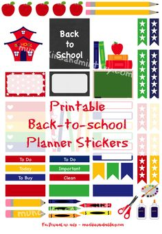 Ready for school? Don't miss a thing with these printable stickers! With most kids getting ready to head back to school, decorate your planner with these free printable stickers & be ready to tackle the year head on! School Planner, Teacher Planner, Free Planner, Happy Planner, Planner Ideas, Planners, Bujo, Printable Planner Stickers, Free Printables