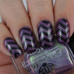 Loving these chevron-inspired nails by @oliviajadenails from Instagram! She used our MM12 plate to get this look! ___________________________________________________ Today's #31DC2016 theme is pattern. You can never go wrong with a zig zag pattern. Polishes used are @emilydemolly LE42 and @powderperfect black stamping polish. Stamping design is from @messymansion MM12. #notd #nails #nailpolish #nailart #nailartaddict #aussienails #aussieindie #indiepolish #indieswatch #emilydemolly…