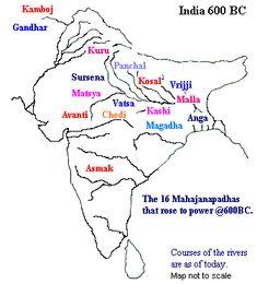 Mahajanapadas & Rise of Magadha Mahajanapadas Budhhist literature Angutara Nikaya gives a list of 16 Ancient Indian History, History Of India, Asian History, Ancient Map, History Timeline, History Facts, Ias Study Material, Geography Map, Physical Geography
