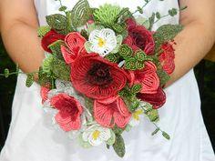 French Beaded Flower Bouquet Arrangement