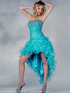 Awesome turquoise high low homecoming dresses 2017-2018
